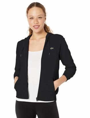 Lacoste Womens Sport Long Sleeve Hooded Fleece Pocket Full Zip Sweatshirt Sweatshirt