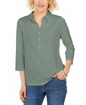 Charter Club Supima Cotton 3/4-Sleeve Polo, In Regular and Petite, Created for Macy's