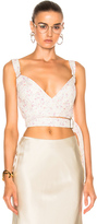 Calvin Klein Collection Linnetra L Faded Leather Floral Bouquet Bustier in Floral,White.