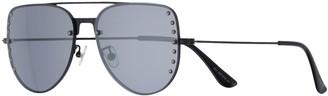 So Women's 60mm Aviator Sunglasses with Studded Lenses