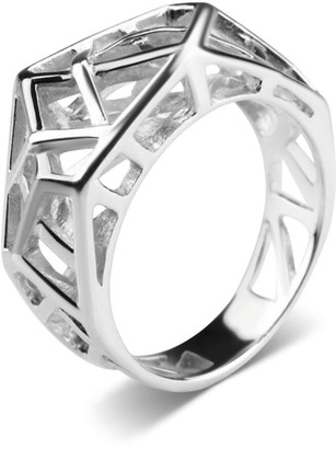 Bellus Domina White Gold Plated Crossover Ring