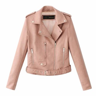 Goosun Ladies Motorcycle Jacket Outerwear Women's Faux Leather Classic Asymmetrical Motorcycle Biker Faux Leather Jacket Slim Fit Lapel Collar Short Bike Coat with Pocket Pink