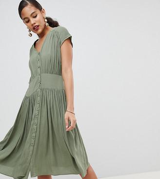 Asos Tall DESIGN Tall casual midi tea dress-Green