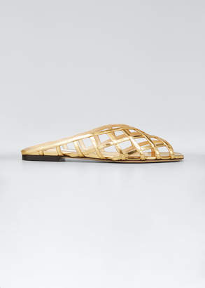 Jimmy Choo Sai Woven Metallic Slide Sandals