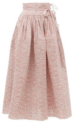Horror Vacui Annabella Pintucked Floral-print Cotton Skirt - White Multi
