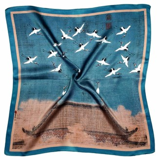 Bees Knees Fashion Blue Brown Birds Printed Small Thick Silk Square Scarf