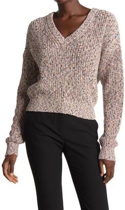 Veronica Beard Crosby Marled Cotton V-Neck Sweater