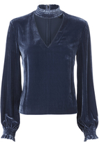 Exclusive for Intermix Suki Smocked Neck Velvet Top