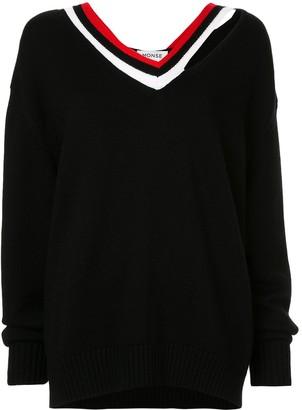 Monse stripe collar cutout jumper