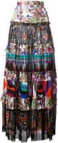 Roberto Cavalli enchanted garden tiered maxi skirt