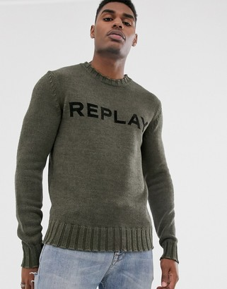 Replay logo crew neck jumper with ribbed detail in khaki