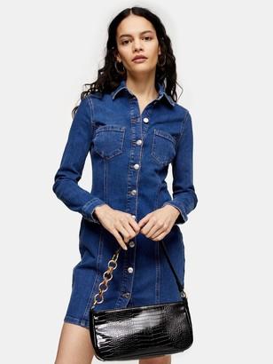 Topshop Button-through Denim Stretch Mini Dress - Blue