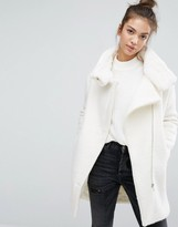 Pull&Bear Faux Fur Lined Zip Front Coat