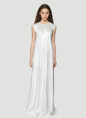 Sies Marjan Washed Satin Sleeveless Full length Dress in White