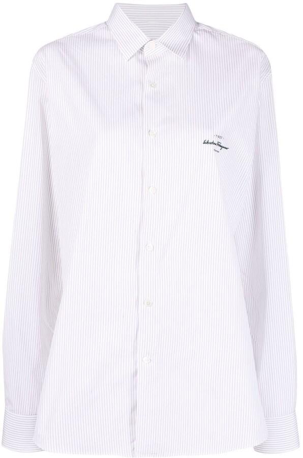 Salvatore Ferragamo Embroidered Logo Striped Shirt