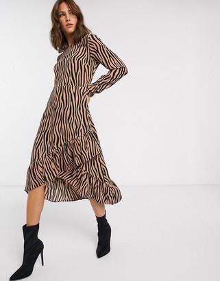 Vila zebra print ruffle skirt midi dress