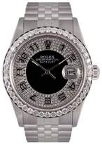 Rolex Datejust Stainless Steel & Black Diamond Bull Eye Tuxedo Dial 36mm Mens Watch