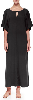 Joan Vass Petite Keyhole-Front Long Dolman Dress