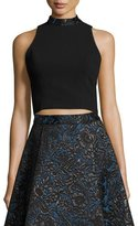 Alice + Olivia Sleeveless Cropped Crepe Top, Black/Blue