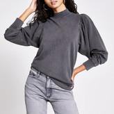 River Island Grey long puff sleeve sweatshirt