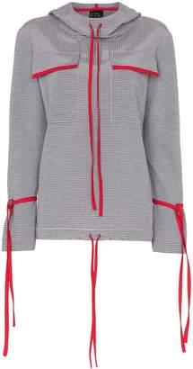 N. Duo Check print cotton blend tie detail hoodie
