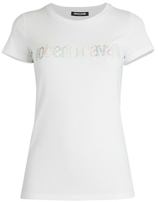 Roberto Cavalli Snake-Print Logo T-Shirt