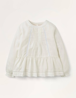 Lace Insert Woven Top