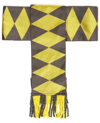 Etro Fringed Geometric-jacquard Silk Belt - Womens - Yellow