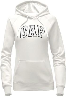 Gap Women's Pullover Fleece Logo Hoodie (White Large)