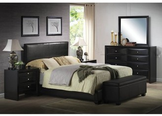 ACME Furniture ACME Ireland Full Panel Bed in Black Faux Leather , Multiple Sizes