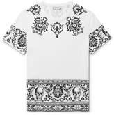 Alexander McQueen Printed Cotton-jersey T-shirt - White