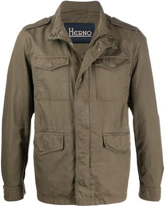 Herno Funnel-Neck Short Military Jacket
