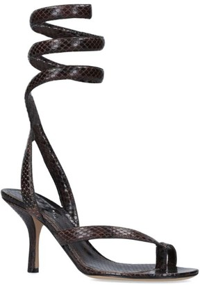 Bottega Veneta Snake Print Leather Wrap Sandals 80