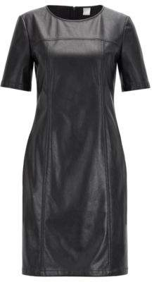 BOSS Shirt dress in faux leather with seam pockets
