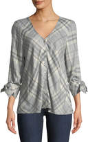 Bobeau Kit Tie-Sleeve Plaid Flannel Blouse