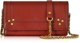Jerome Dreyfuss Jack Red Leather Wallet Clutch w/Shoulder Strap