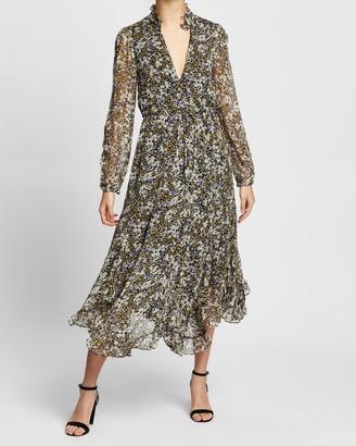 Shona Joy Valentina Plunged Godet Midi Dress