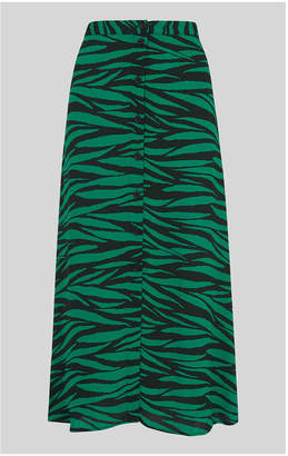 Whistles Tiger Print Button Front Skirt