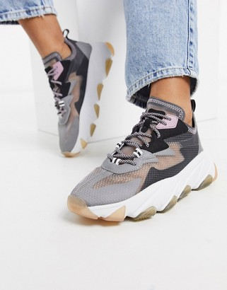 Ash Eclipse chunky panelled ripstop trainer in grey and pink