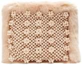 SHRIMPS Graham faux pearl-embellished faux-fur pouch