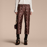 Burberry Geometric Wallpaper Print Silk Twill Cropped Pyjama-style Trousers