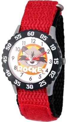 Marvel Guardians of the Galaxy Evergreen Rocket Raccoon Boys' Stainless Steel Time Teacher Watch,Black Bezel, Red Hook and Loop Nylon Strap with Black Backing