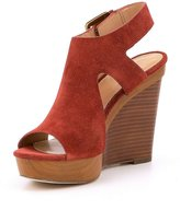 Michael Kors Womens Josephine Wedge Leather Open Toe