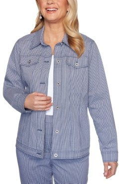 Alfred Dunner Easy Street Gingham-Print Stretch Jacket
