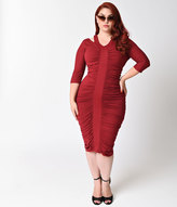 Kiyonna Plus Size Garnet Red Half Sleeve Riveting Ruched Dress