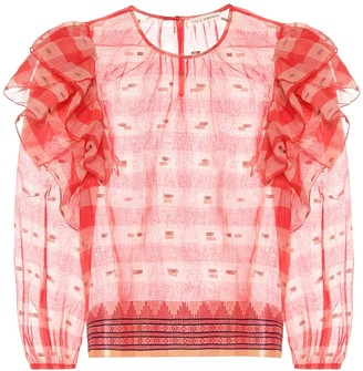 Ulla Johnson Caasi checked cotton blouse