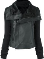 Rick Owens classic biker jacket - women - Cotton/Calf Leather/Cupro/Virgin Wool - 40