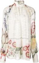 Oscar de la Renta floral Calligraphy print blouse