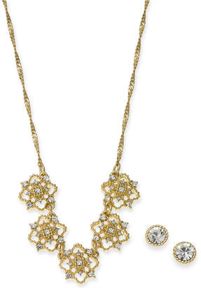 "Charter Club Gold-Tone Crystal Mini Clover Statement Necklace & Stud Earrings Boxed Set, 17"" + 2"" extender"