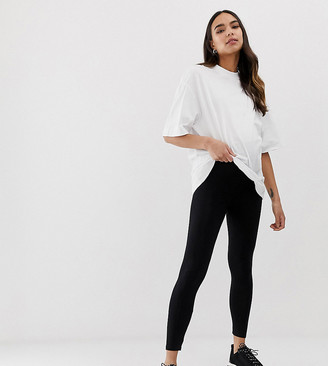 ASOS DESIGN Maternity Petite over the bump high waisted leggings in black